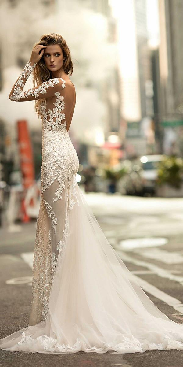 mermaid open back with long sleeves and train berta bridal wedding dresses