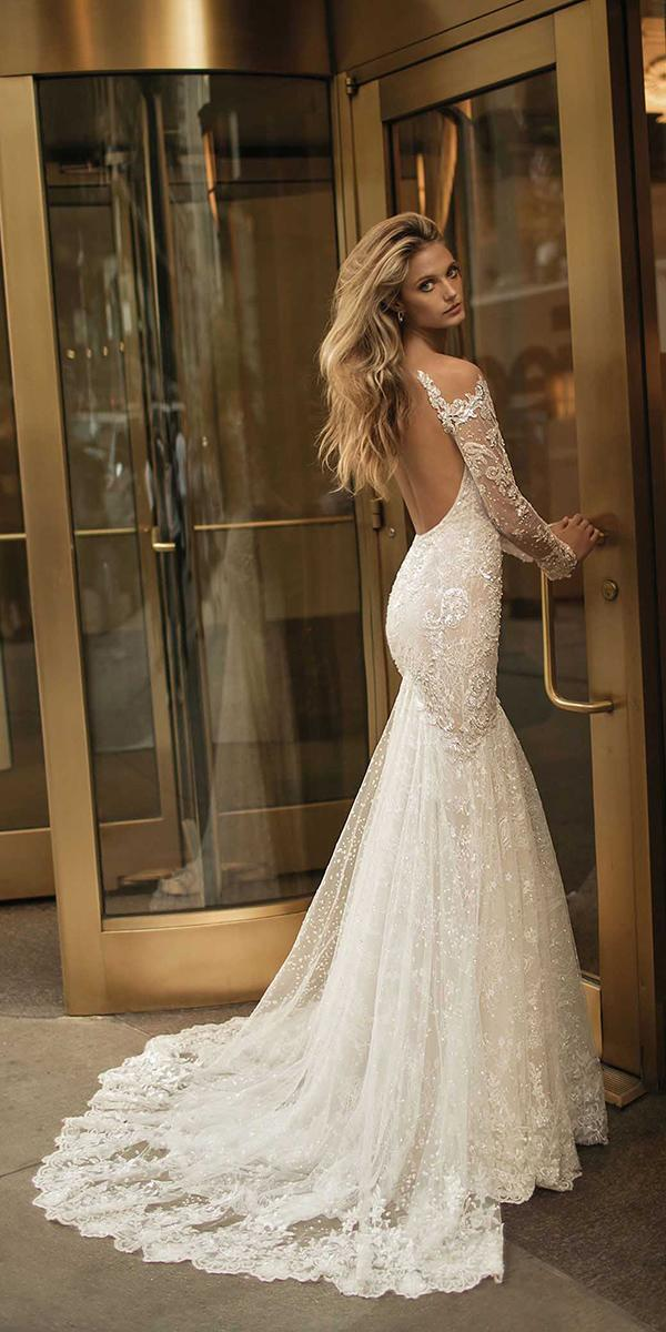 mermaid open back with train berta bridal wedding dresses
