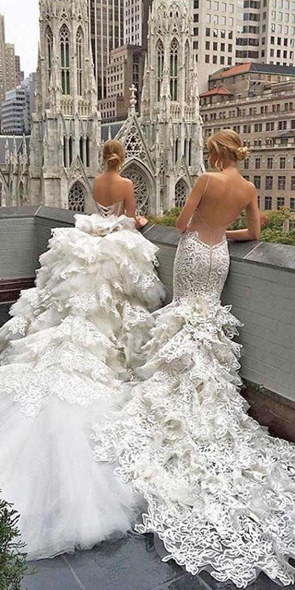 mermaid ruffles with low back and cathedral train pnina tornai wedding dresses