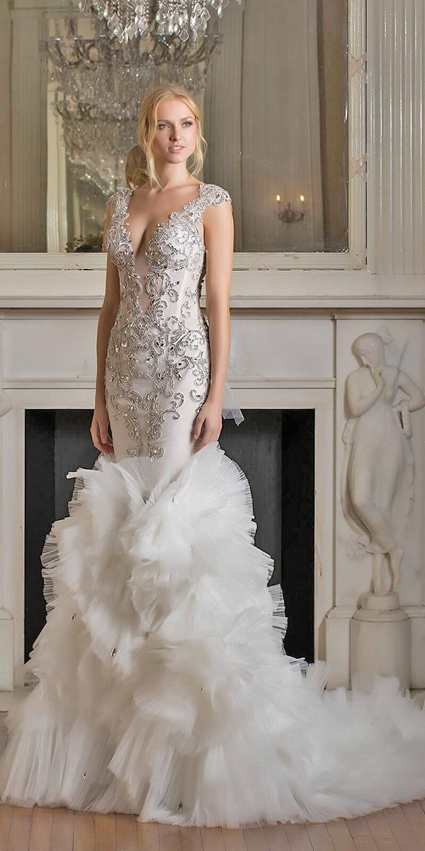 mermaid ruffles with v nackline and embellishments pnina tornai wedding