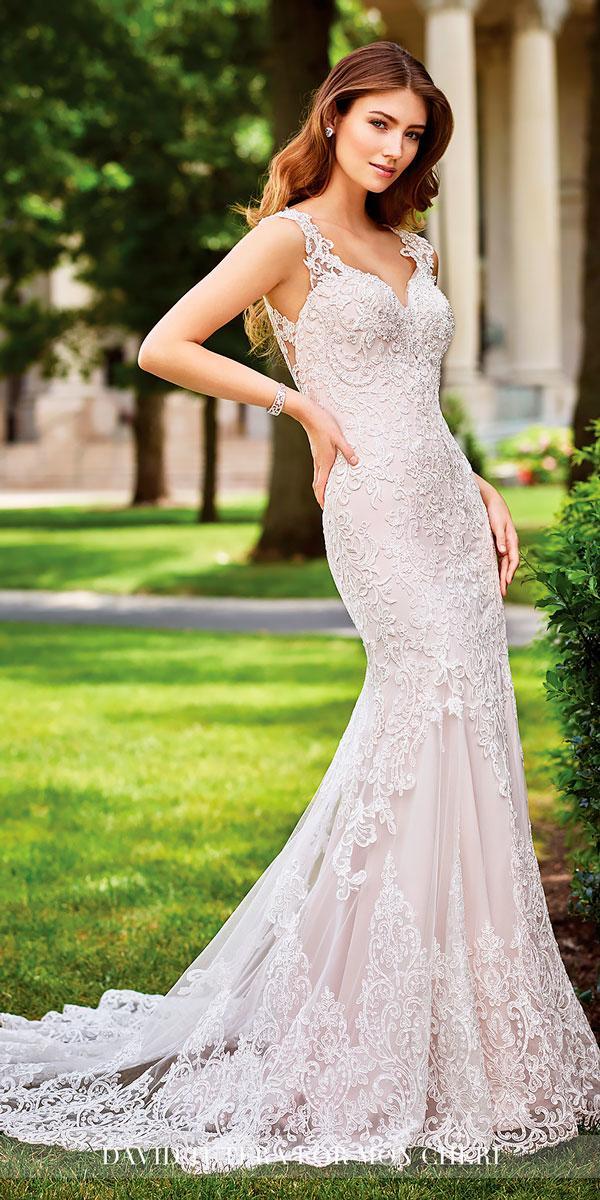 mermaid satin hand beaded illusion lace cap sleeves wedding dresses david turera style sonal