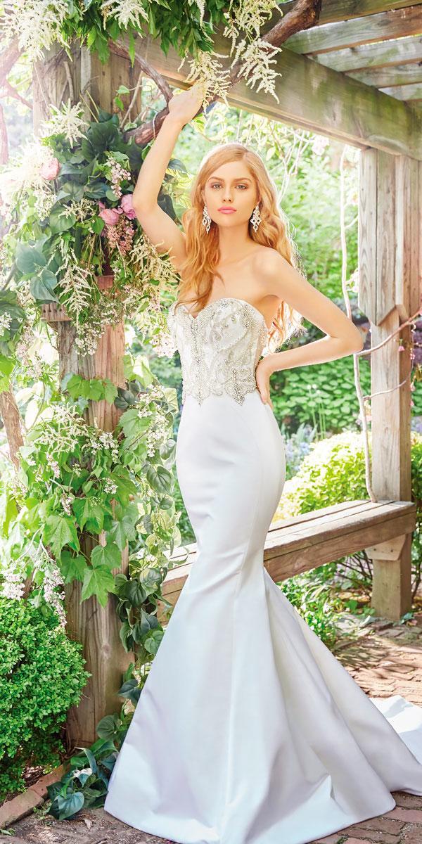 strapless sweetheart neckline mermaid satin wedding dresses lazaro