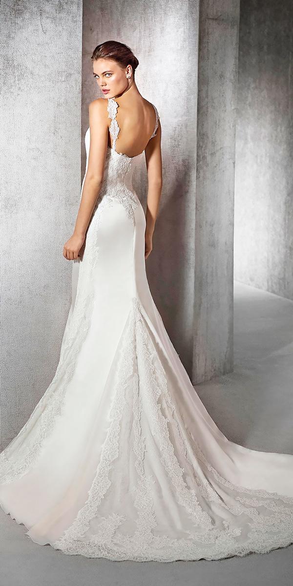 mermaid satin wedding dresses with open back and san patrick zaneta