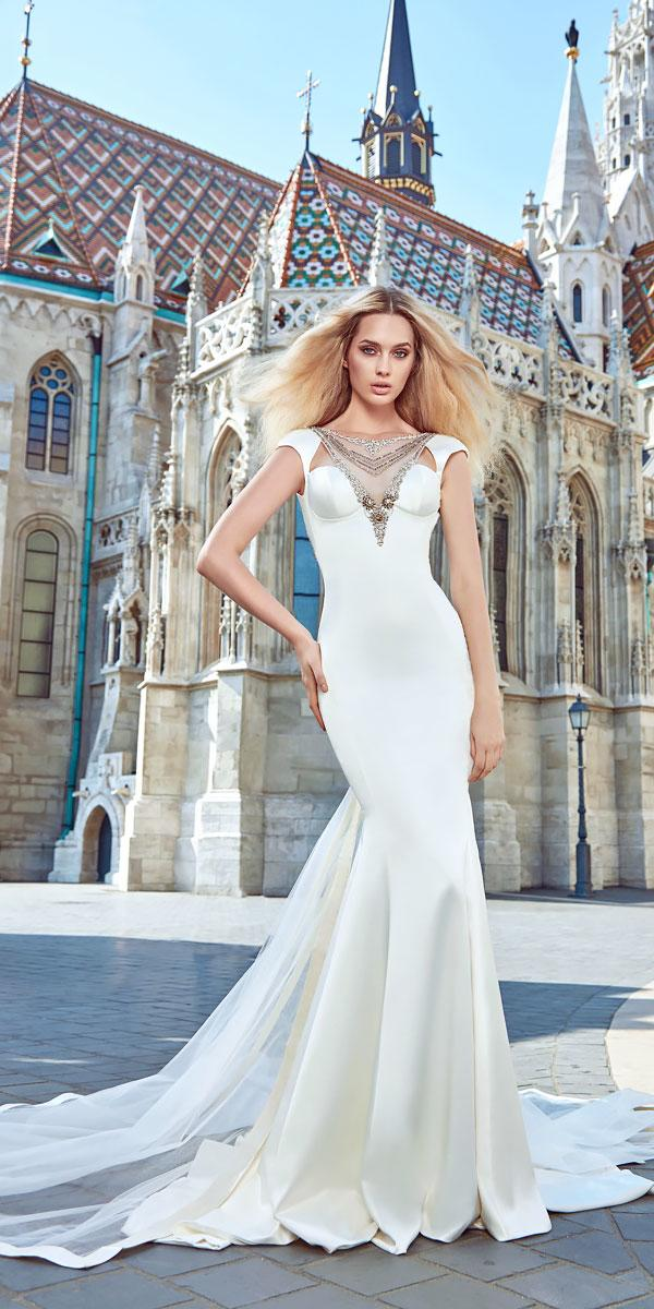 sleeve cap satin mermaid wedding dresses with train galia lahav