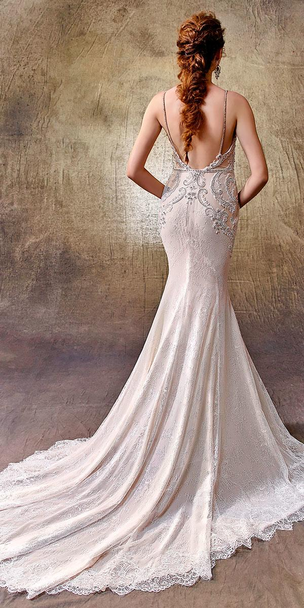 mermaid spaghetti strap open back wedding dresses with train enzoani style liberty