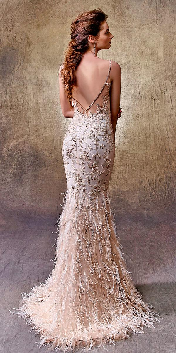 mermaid spaghetti strap v shape open back wedding dresses enzoani