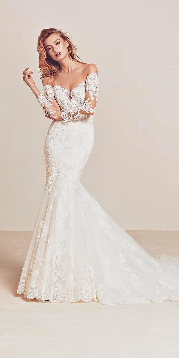 mermaid sweetheart off the shoulder wedding dresses with lace sleeves pronovias