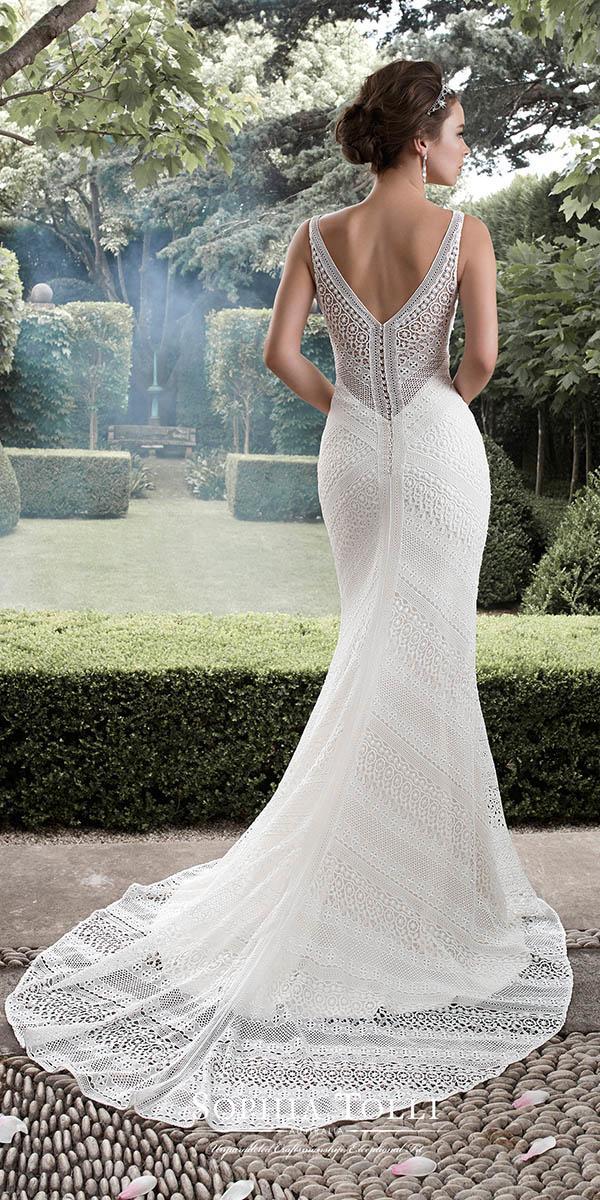 mermaid v back with train sophia tolli wedding dresses