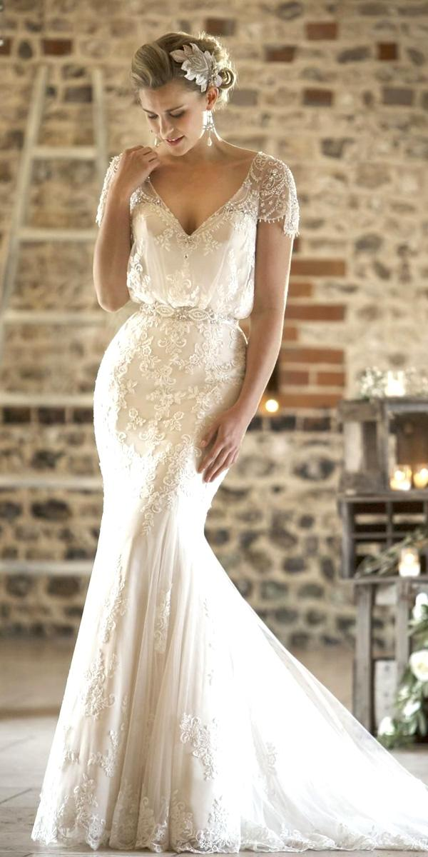 mermaid v neck cap sleeve vintage lace wedding dresses true bride