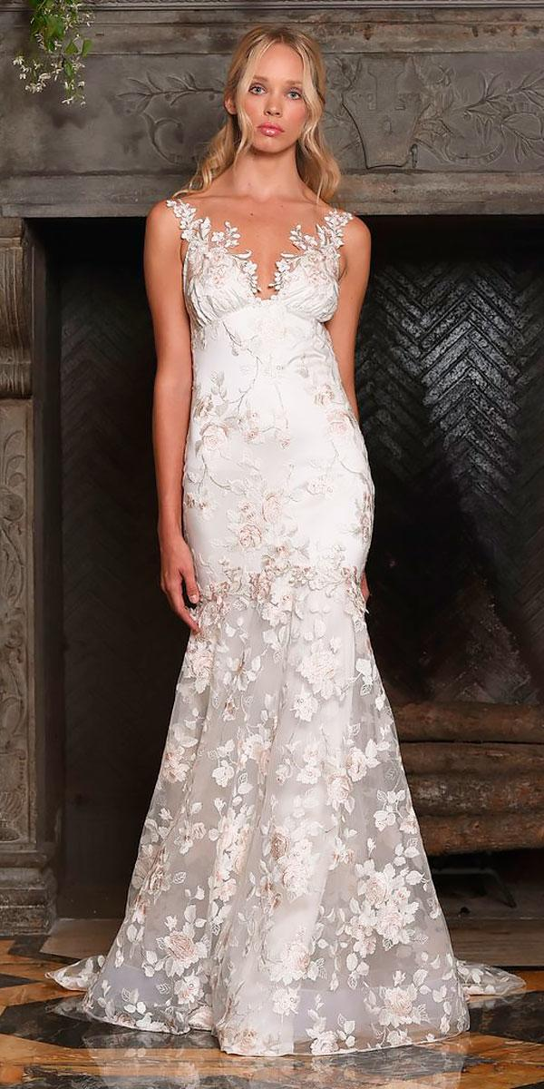 mermaid v neckline floral wedding dresses claire petti bone