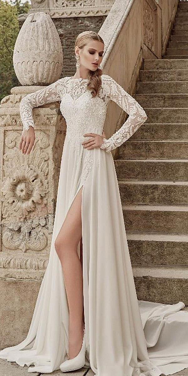 long sleeves sweetheart lace wedding dresses by armonia