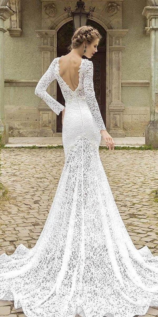 mermaid with long sleeves and v back armonia wedding dresses