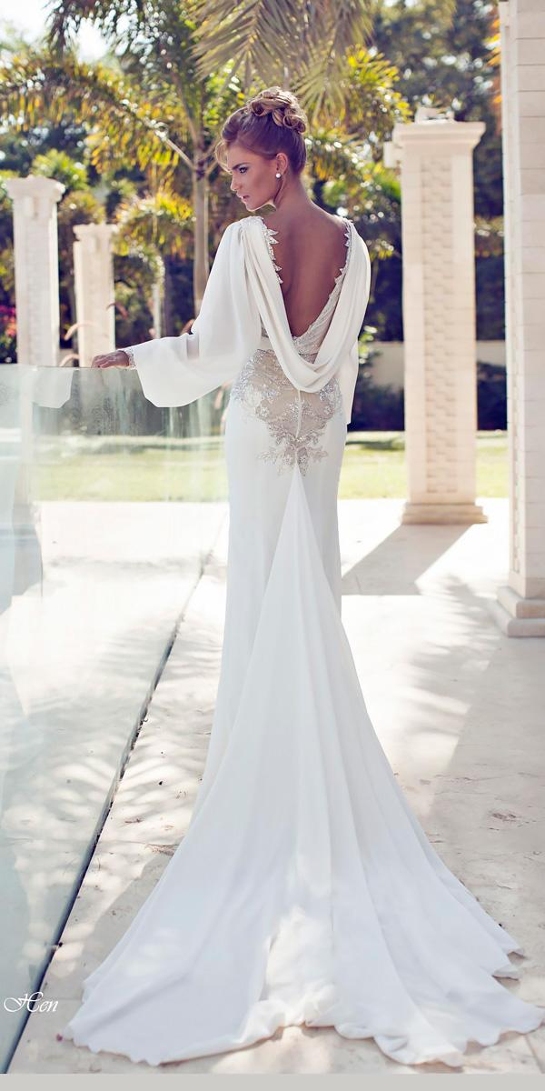 mermaid with long slevees open back wedding dresses nurit hen