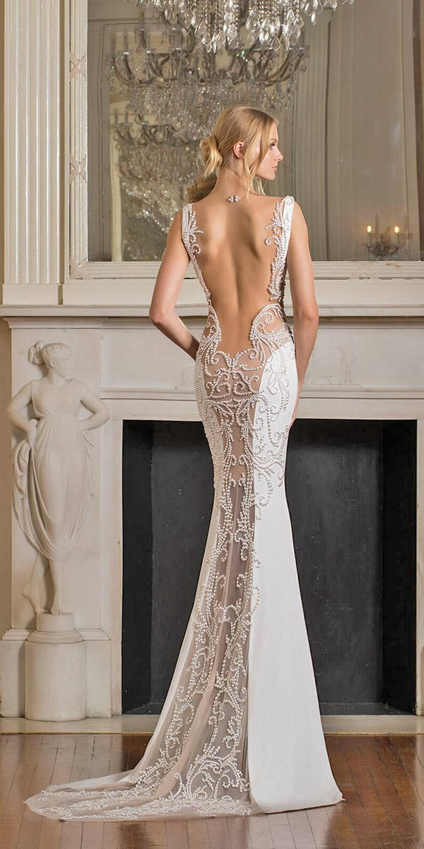 mermaid with low back and lase train and embellishments pnina tornai wedding dresses