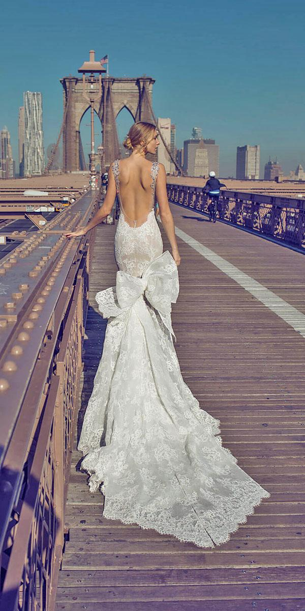 mermaid with low back and lase train pnina tornai wedding dresses