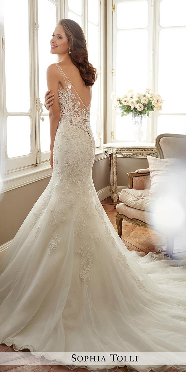 mermaid with low back and train sophia tolli wedding dresses