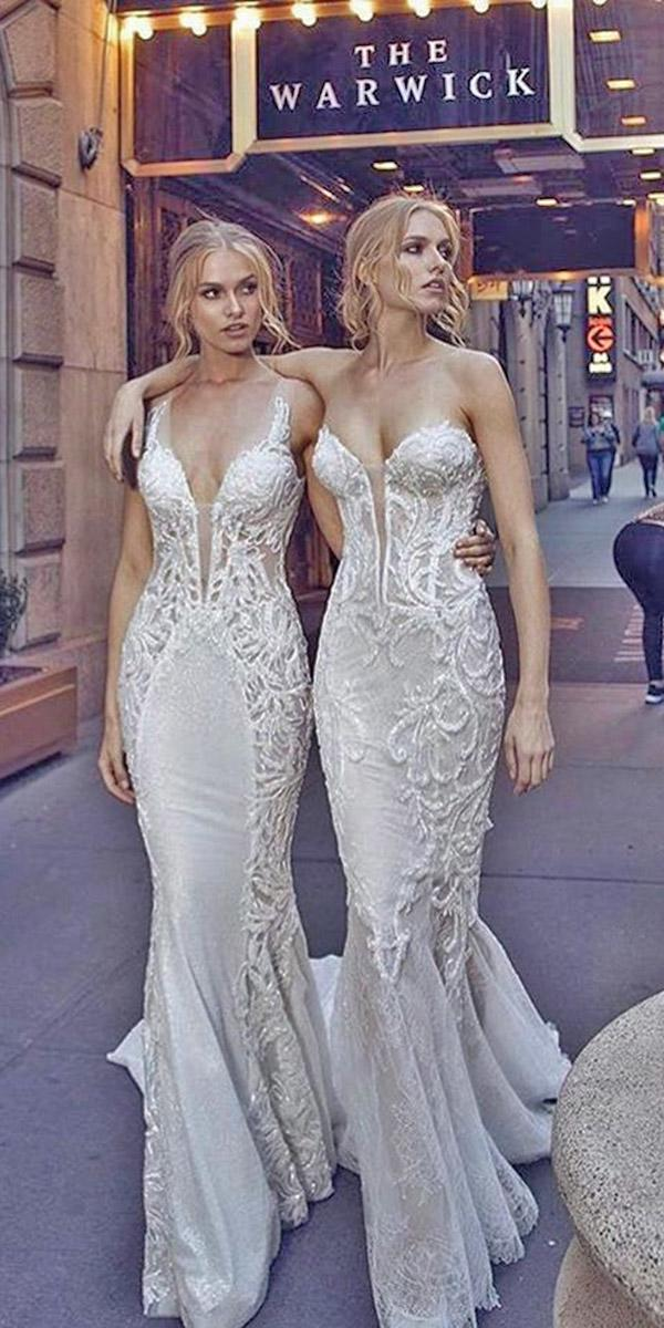 mermaid plunging neckline and train pnina tornai wedding dresses