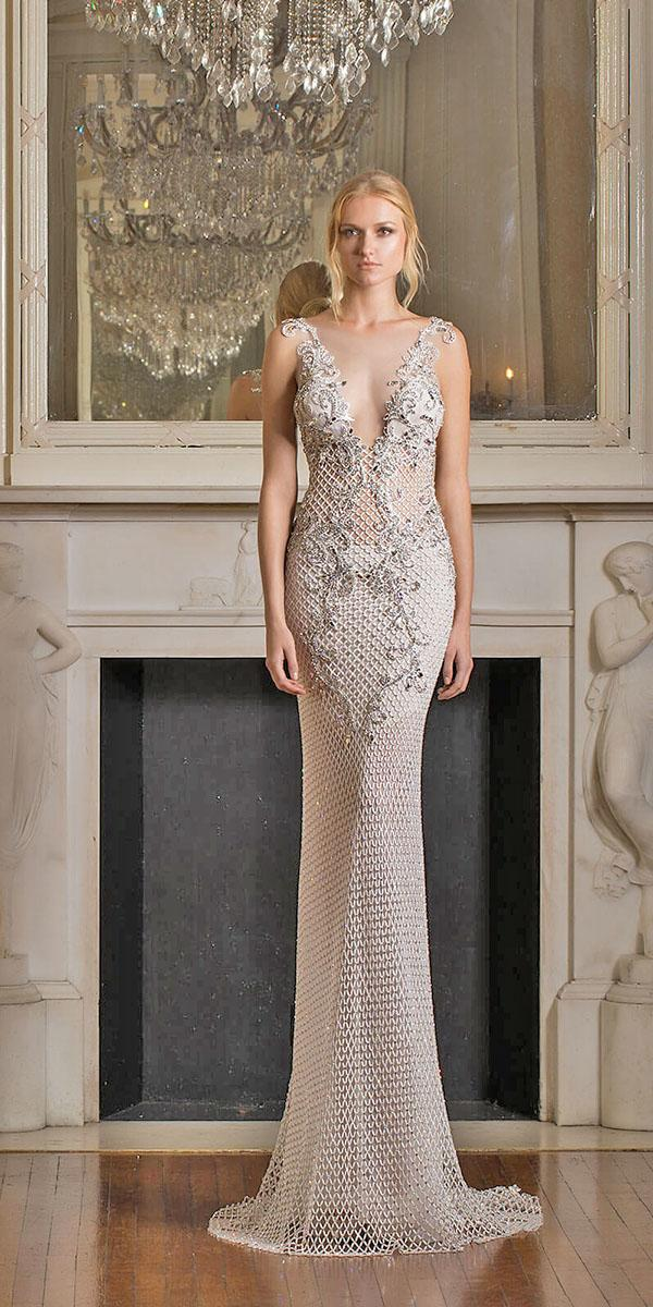 mermaid with v nakcline and embellishments pnina tornai wedding