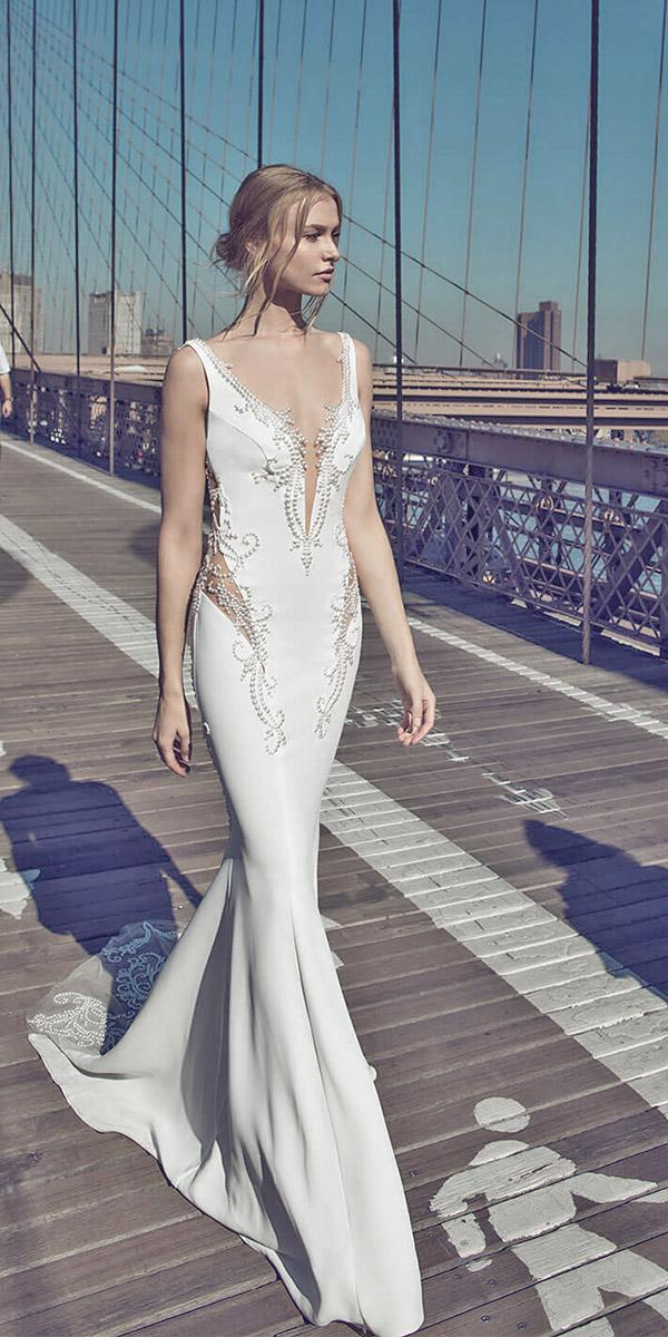 mermaid with v neckline and embellishments pnina tornai wedding dresses