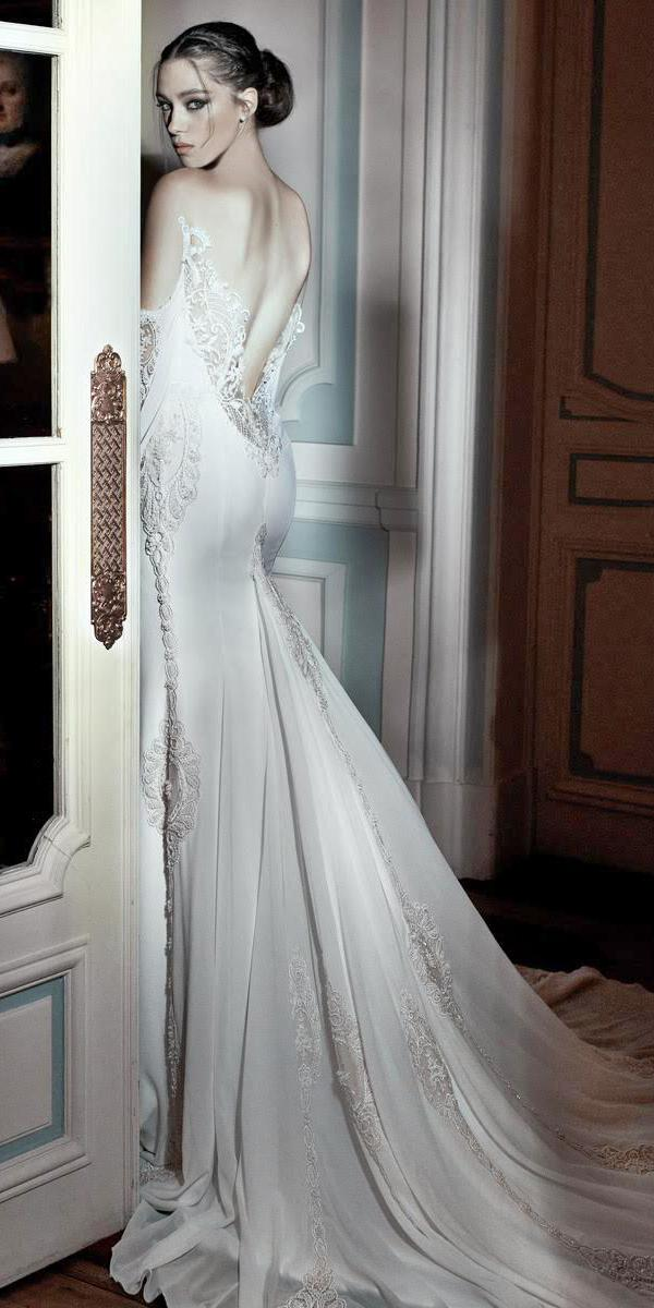 mermaide with low back and train elihav sasson wedding dresses