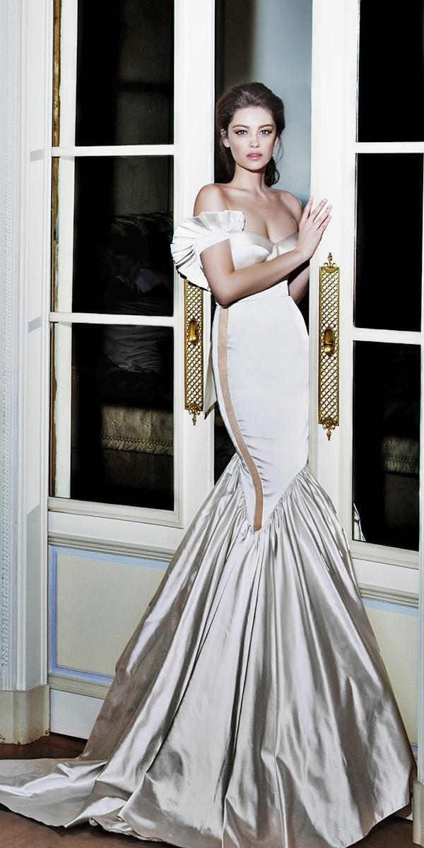 mermaide with sweetheart and off shoulder elihav sasson wedding dresses