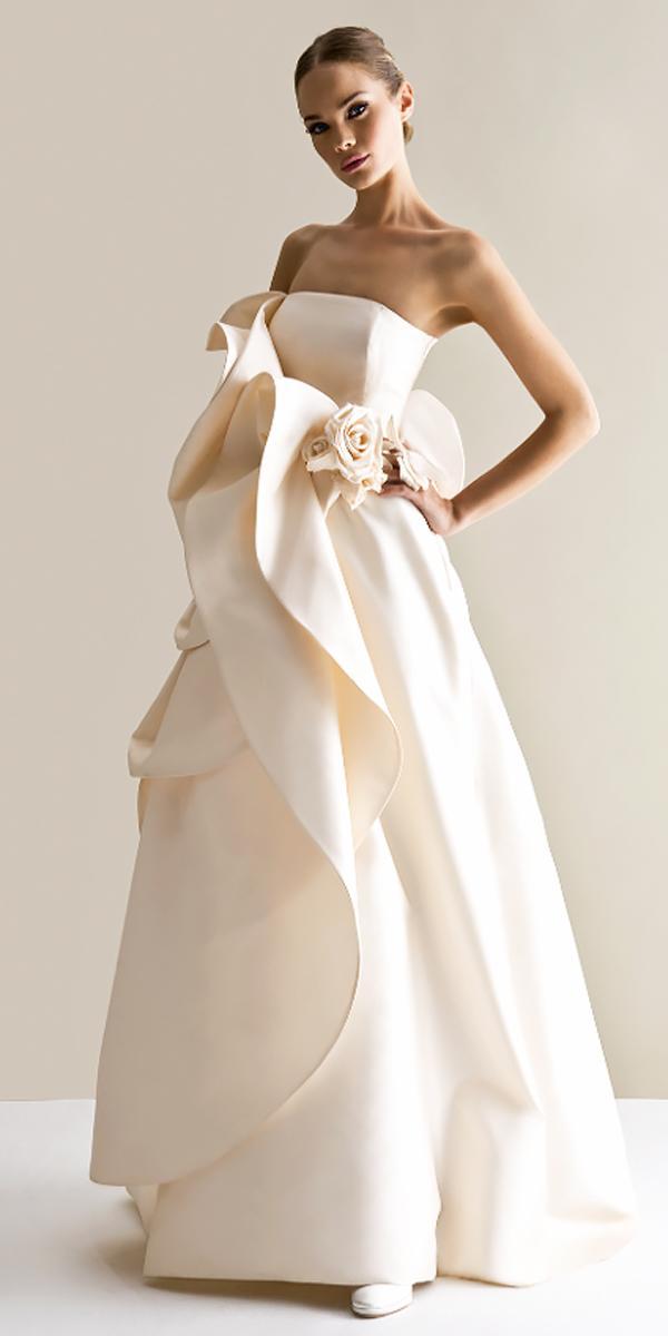 modern asymmetrical strapless slight curve elegant wedding dresses antonio riva