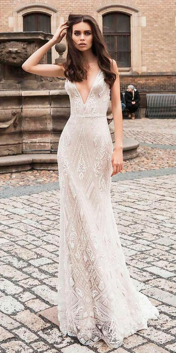 modest boho wedding dresses straight deep v neck lace with straps innocentia