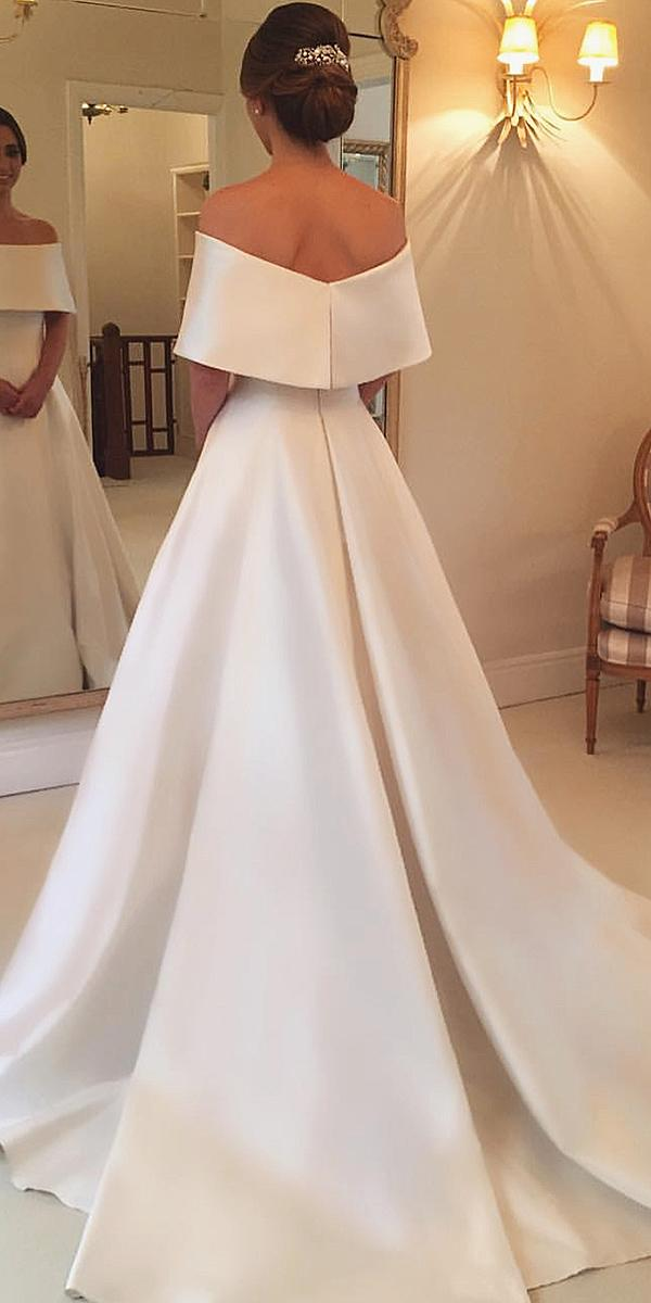 modest wedding dresses a line straight neckline simple wanda borges
