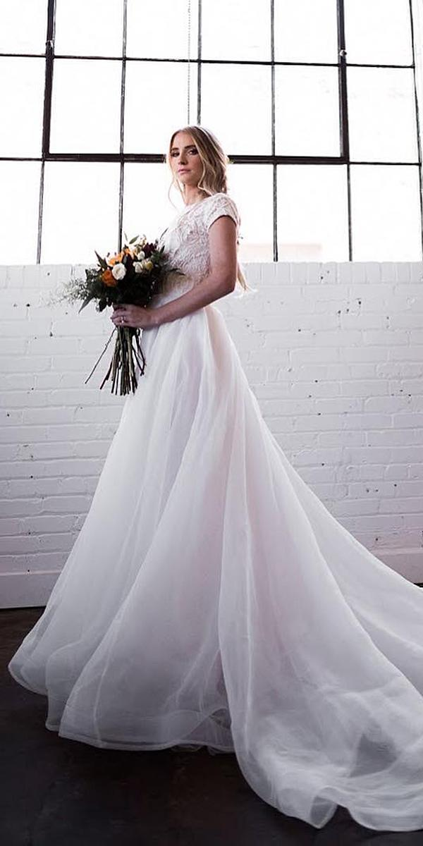 modest wedding dresses a line with cap sleeves lace top elizabeth cooper