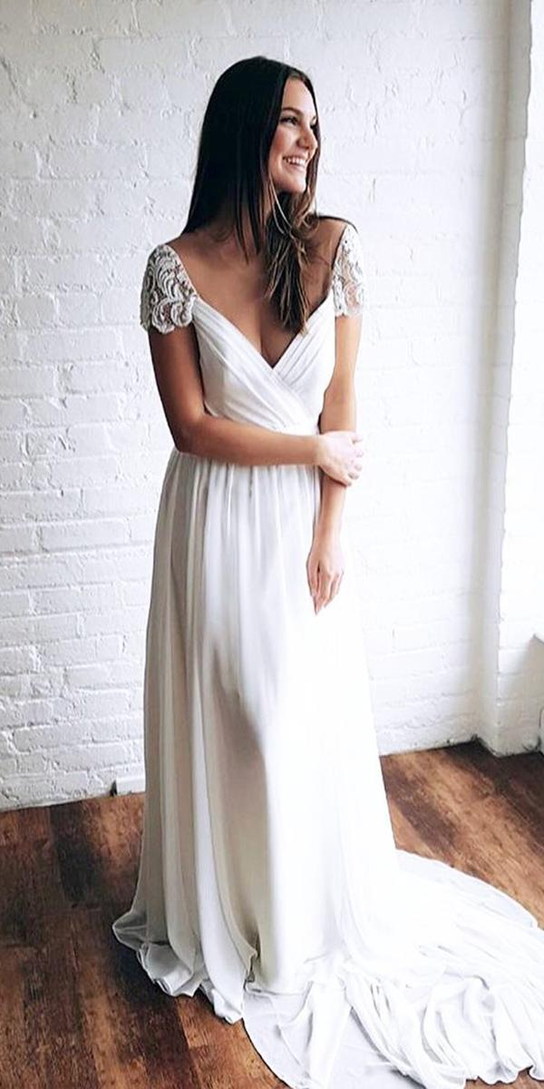 modest wedding dresses a line with cap sleeves v neckline truvelle