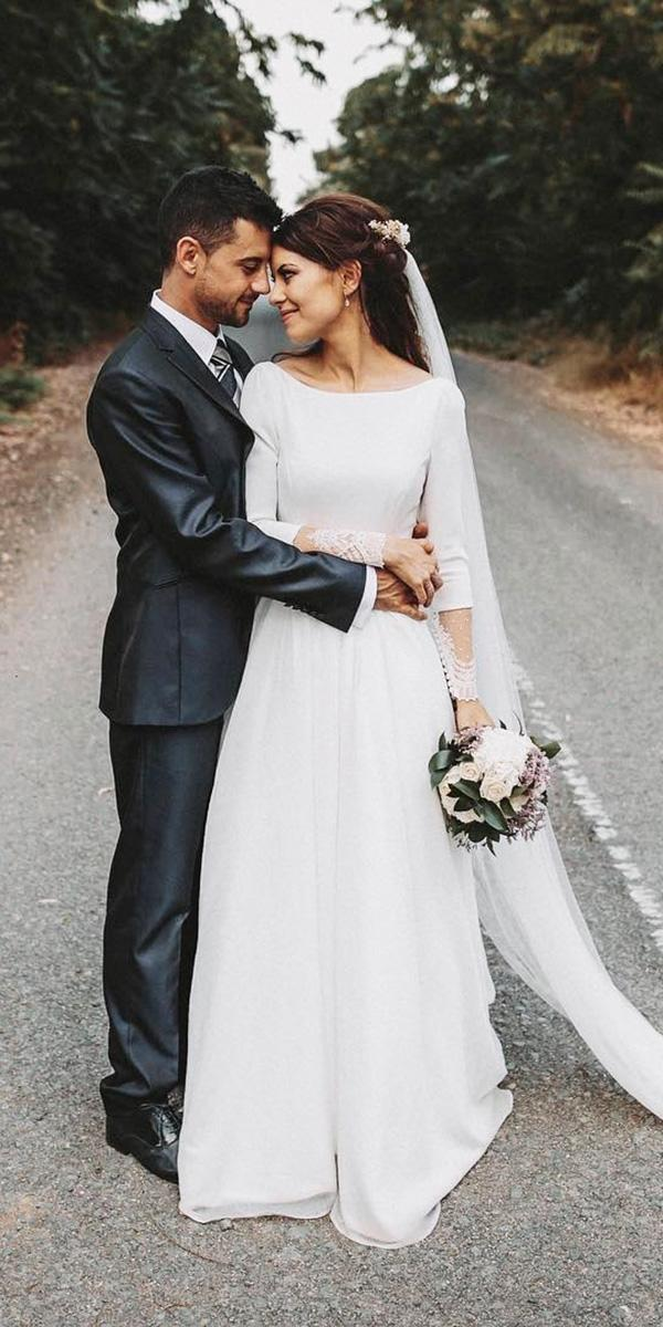 modest wedding dresses a line with long sleeves simple rnestovillalba