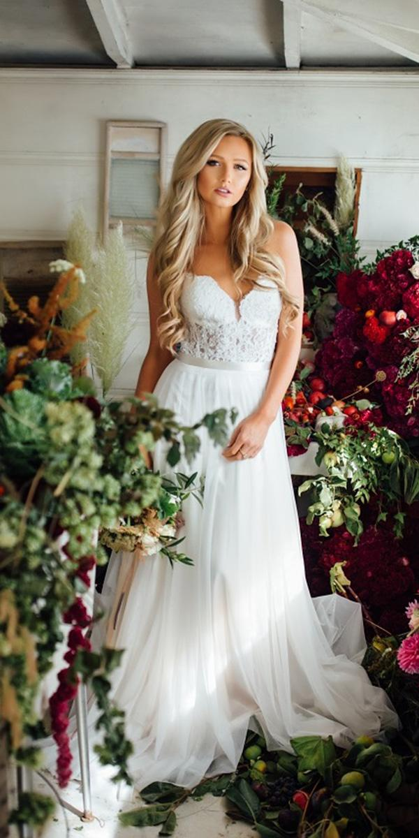 modest wedding dresses a line with spaghetti straps lace top