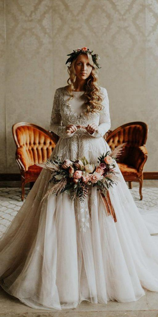 modest wedding dresses ball gown with long sleeves lace ivory andy ky leroberts