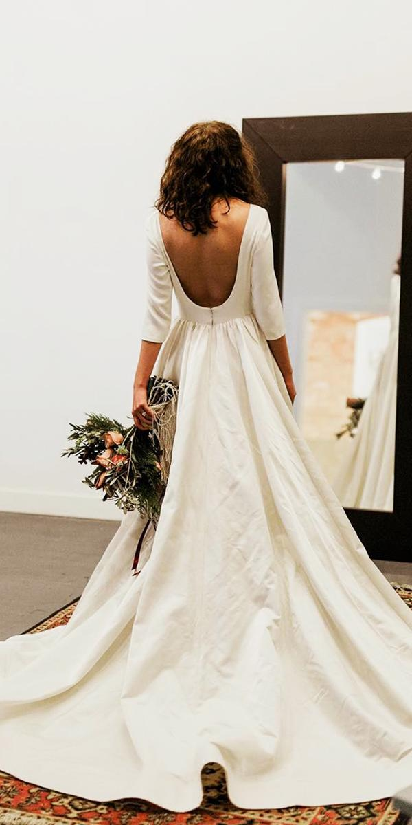 modest wedding dresses low back with sleeves simple chante llauren designs