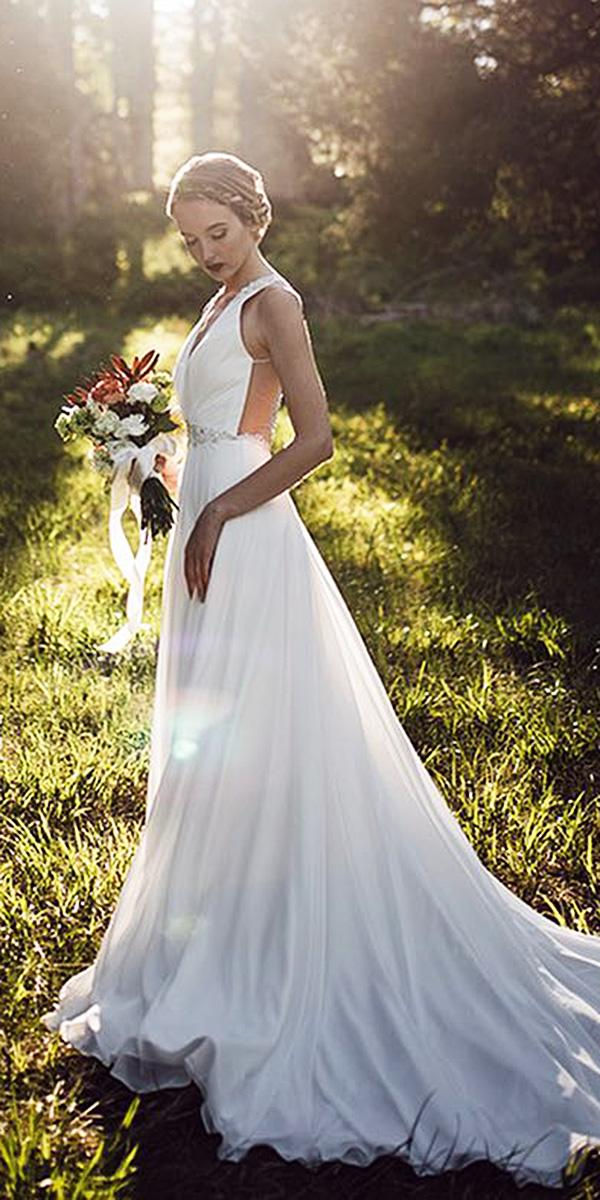 modest wedding dresses sheath deep v neckline sleeveless simple mon cheri