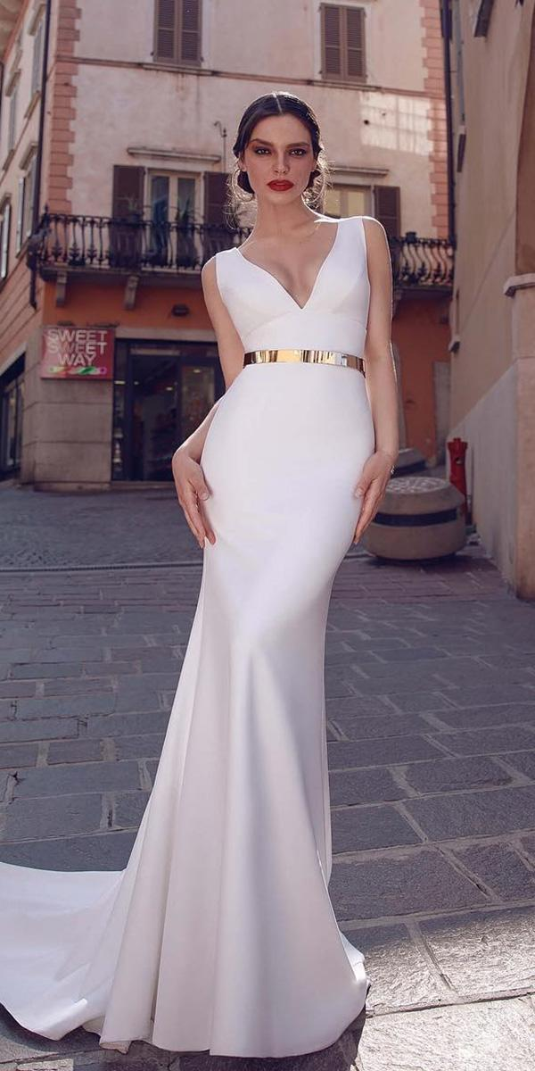 modest wedding dresses simple sheath v neckline gold belt armonia