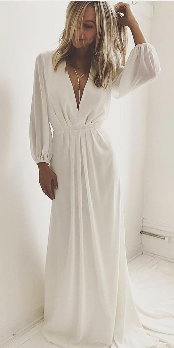 Modest wedding dresses with long sleeves v neckline simple for Dyeing a wedding dress professionally