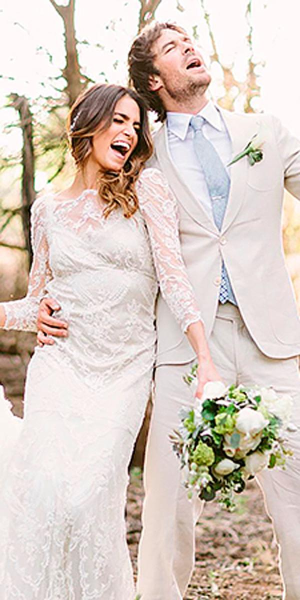 nicole houston straight lace illusion neck exclusive celebrity wedding dresses with long sleeves claire pettibone