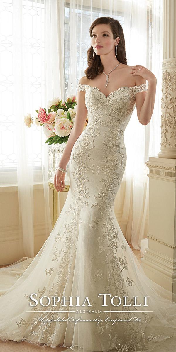 lace off the shoulder mermaid wedding dresses with train sophia tolli