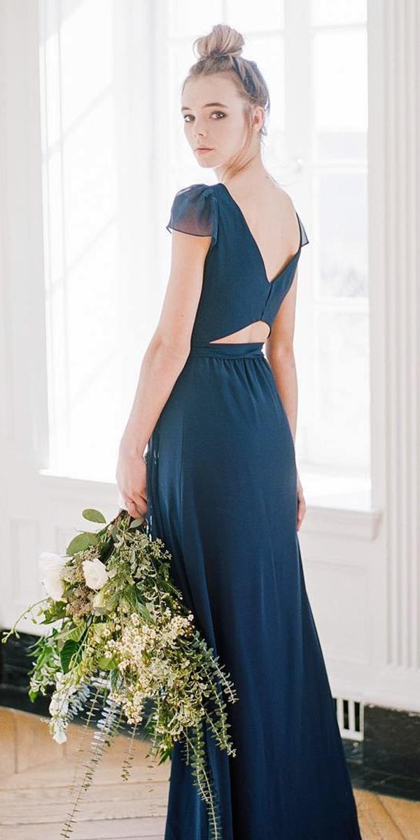 open back cap sleeves navy bridesmaid dresses joannaaugust