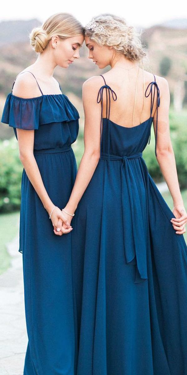 open back off the shoulder spaghetti straps navy bridesmaid dresses joannaaugust