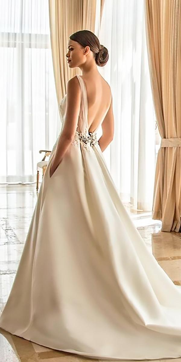 open back wedding dresses a line low back simple with straps and train enzoani