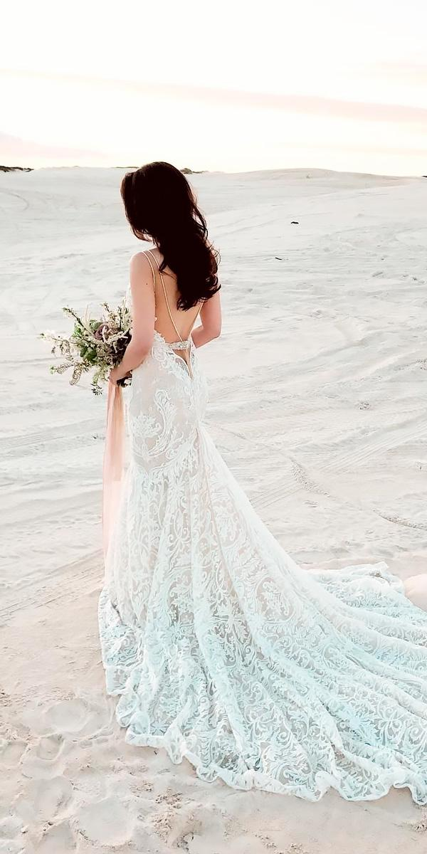 open back wedding dresses beach lace v back straps with train berta