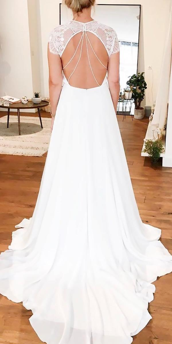 open back wedding dresses simple straight with short sleeves alexandra grecco