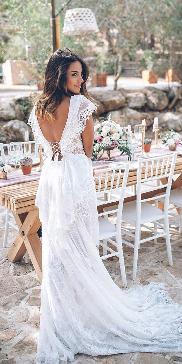 open back wedding dresses with cap sleeves lace boho country style galia lahav