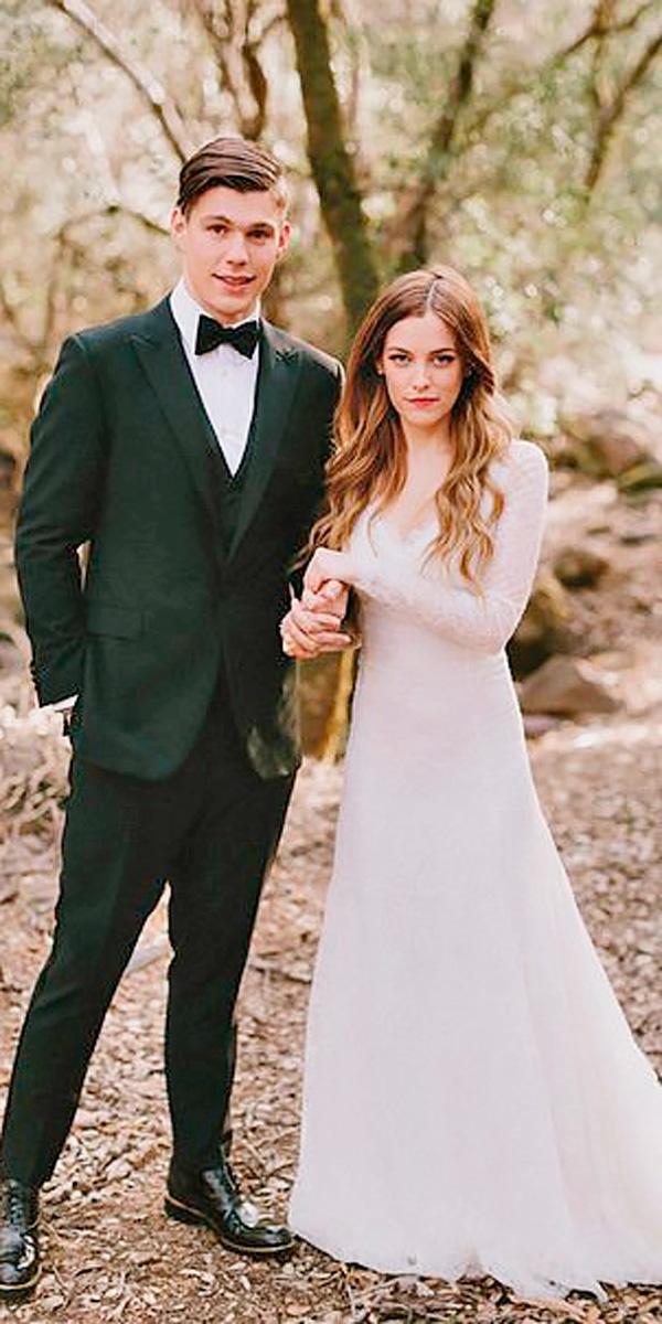 riley keough a line sweetheart neck long sleeved celebrity wedding dresses delphine manivet