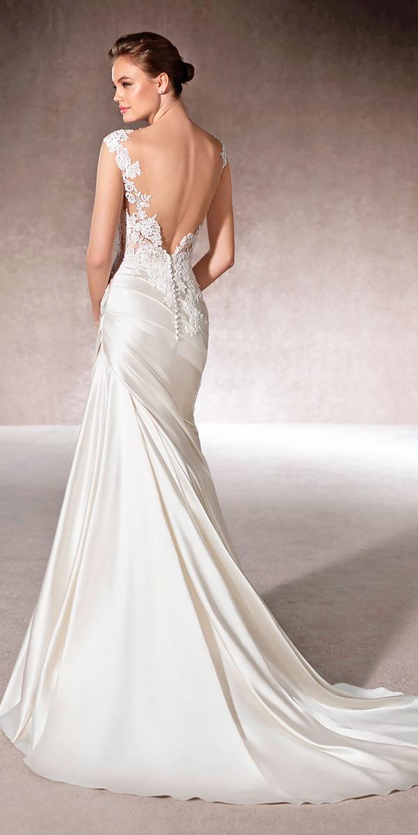 satin mermaid draped skirt open back wedding dresses san patrick style mercy