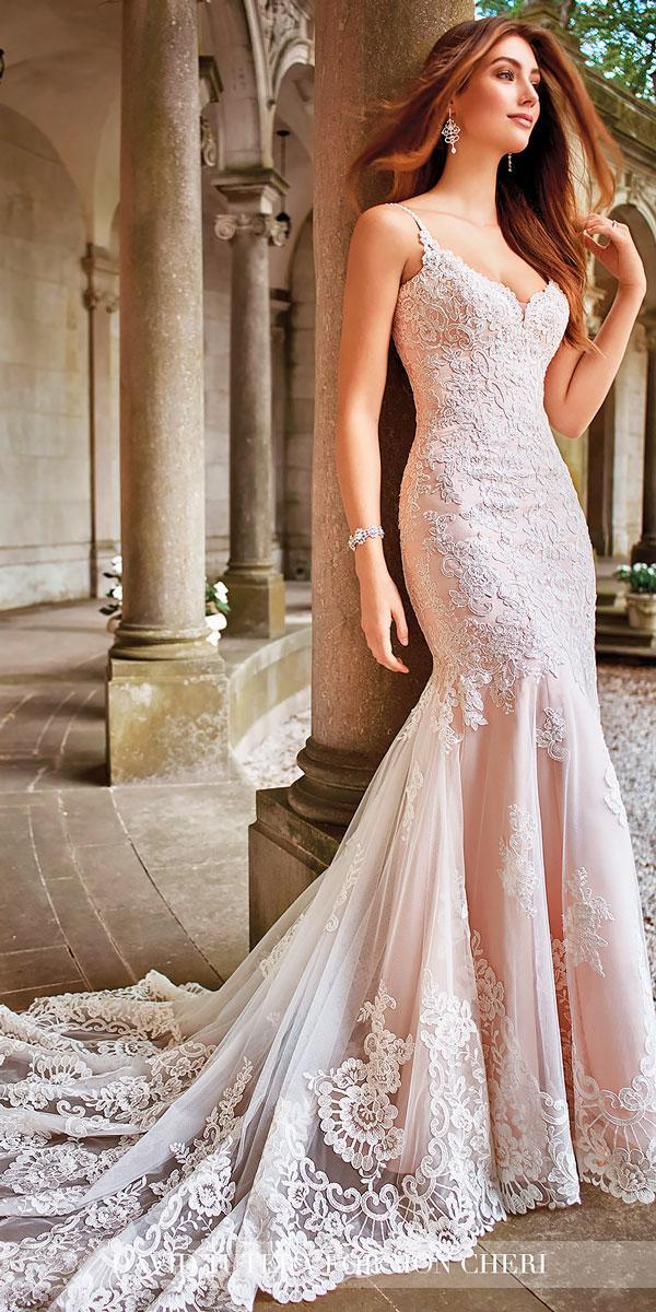 hand beaded spaghetti straps satin mermaid wedding dresses david turera style kule