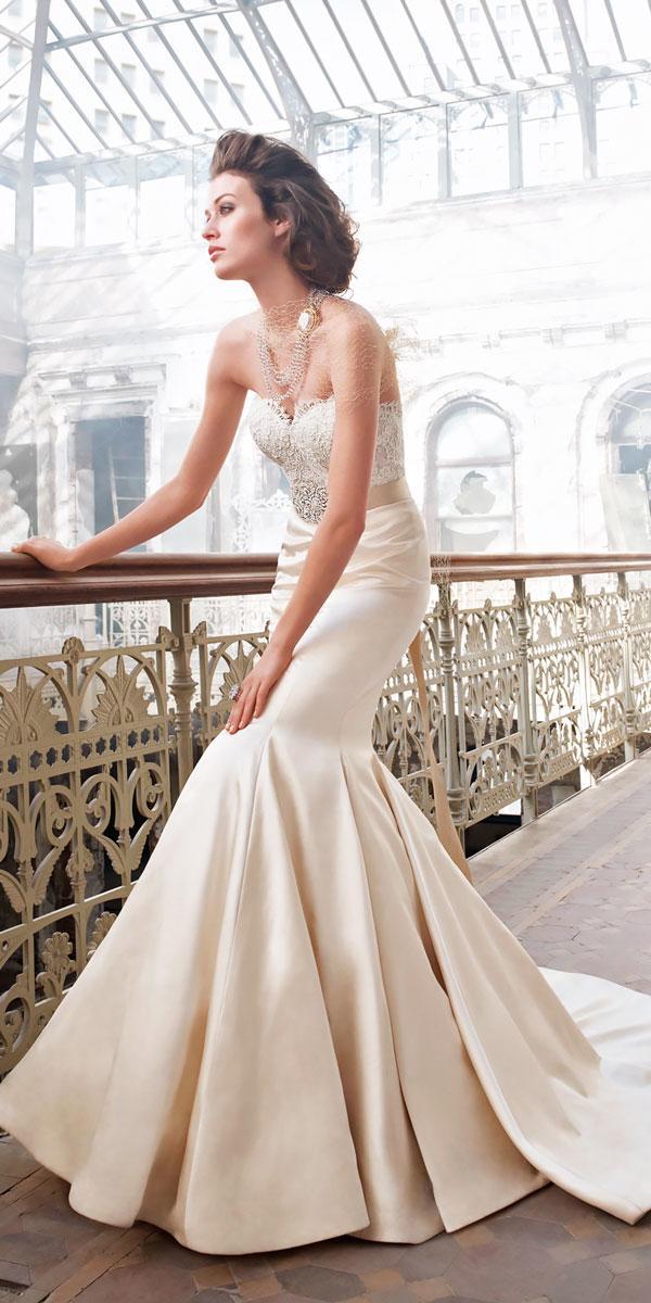 natural waist sweetheart satin mermaid wedding dresses with chapel train lazaro