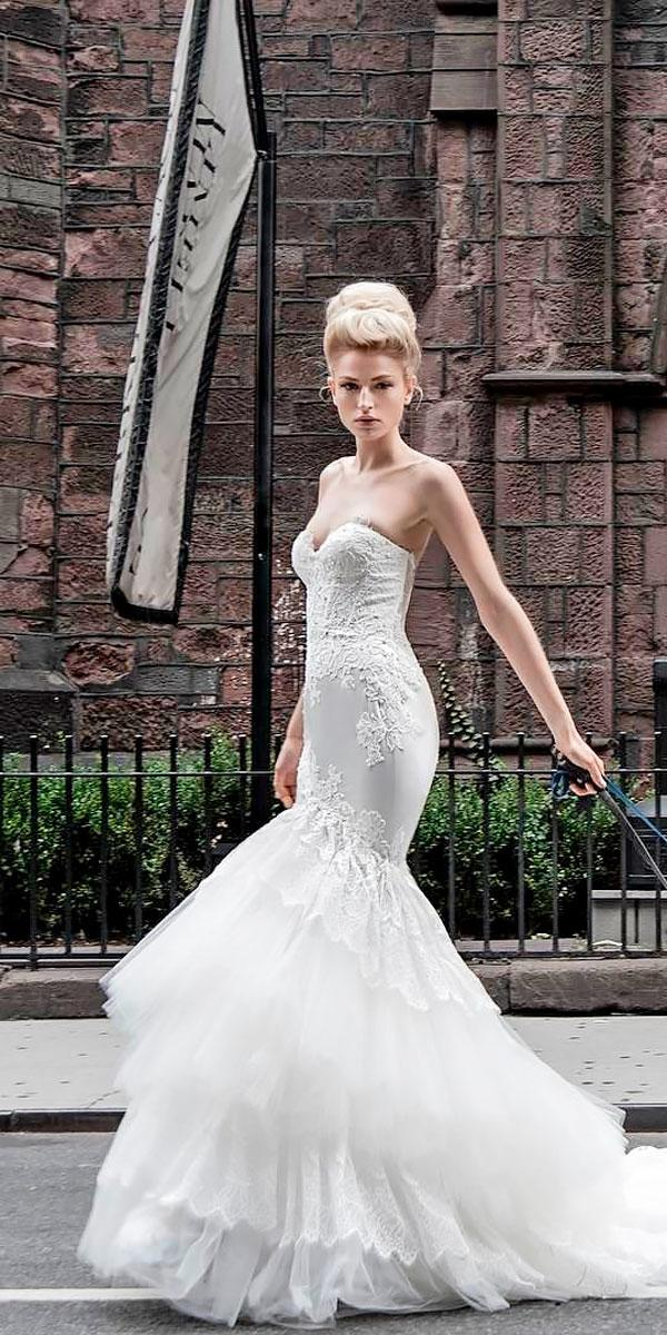 strapless sweetheart satin mermaid wedding dresses with train pnina tornai